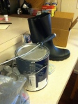 A rubber boot and some spray paint....